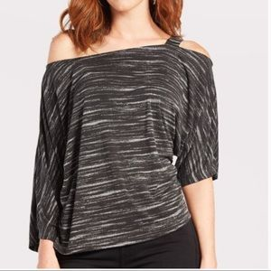 SUNDAY IN BROOKLYN Gray Off Shoulder Loretta Top
